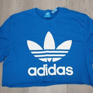 Blue adidas original cropped t shirt